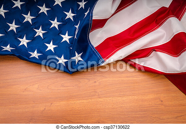 American flag on wood background - csp37130622