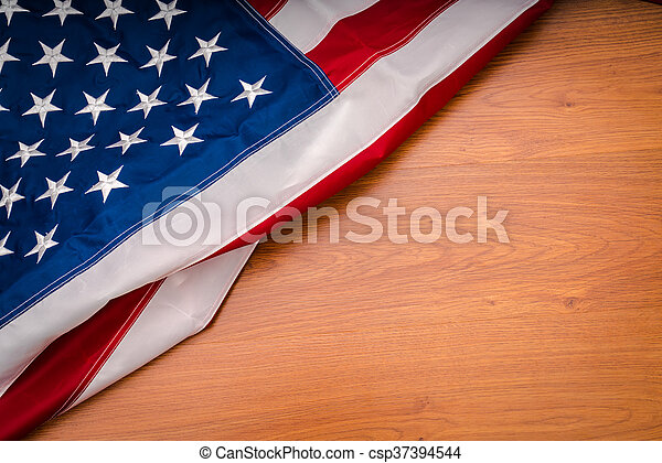 American flag on wood background - csp37394544
