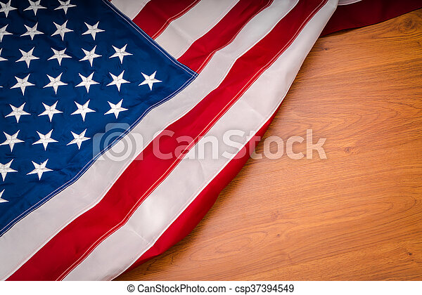 American flag on wood background - csp37394549