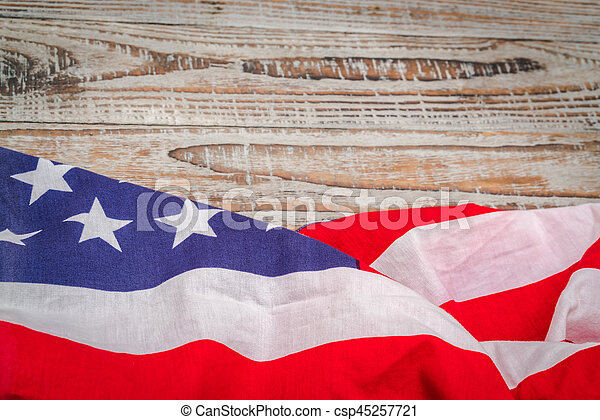 American flag on wood background . - csp45257721