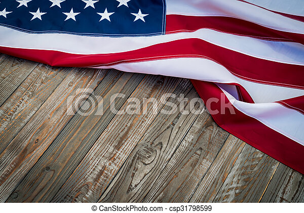 American flag on wood background - csp31798599
