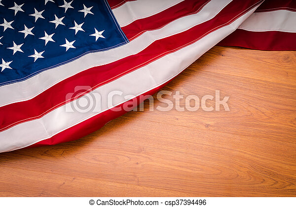 American flag on wood background - csp37394496