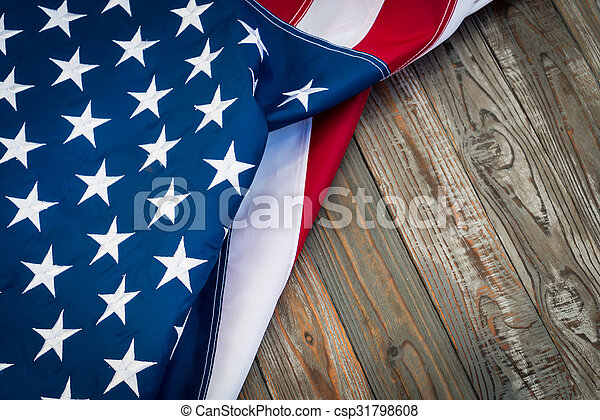 American flag on wood background - csp31798608