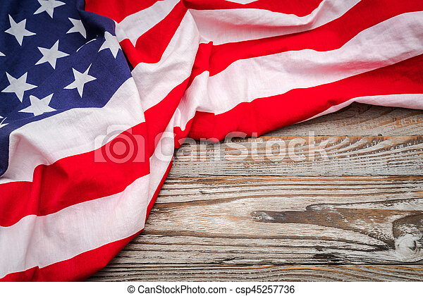 American flag on wood background . - csp45257736