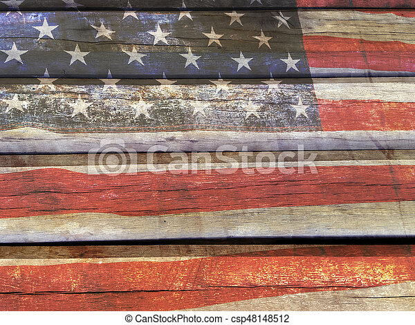 American flag on wood - csp48148512