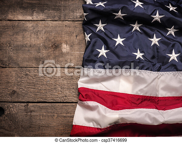 American flag on wood - csp37416699