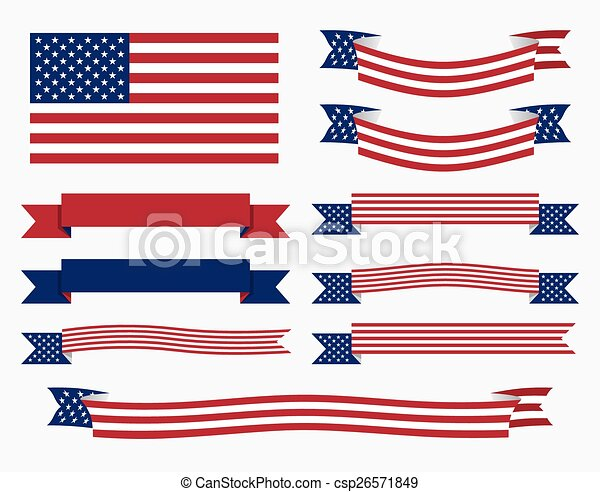 american flag ribbon and banner set of american usa flag eps rh canstockphoto ca  american flag vector clipart free