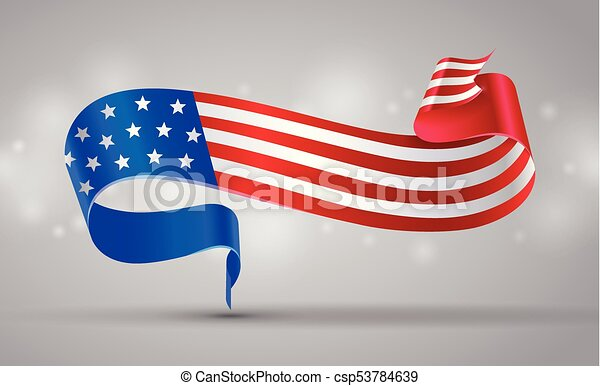 American Flag Ribbon Or Banner Usa Flag Symbol 4 July American