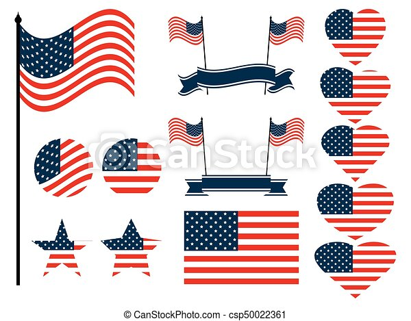 American flag set. Collection of symbols with the flag of the United States of America. Vector illustration - csp50022361