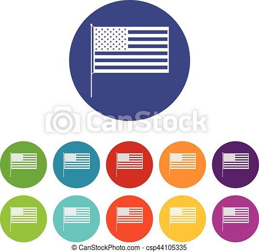 American flag set icons - csp44105335