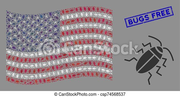 American Flag Stylization of Cucaracha and Distress Bugs Free Stamp - csp74568537