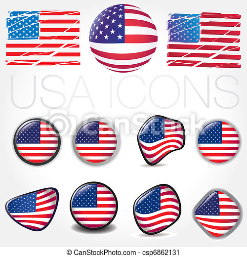 American Flag Symbols Icons Buttons Vector Illustration Usa Vector