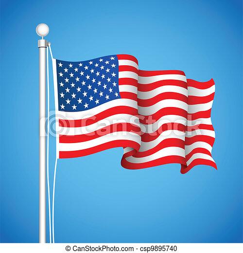 American Flag Illustration Of American Flas Waving In Sky Backdrop