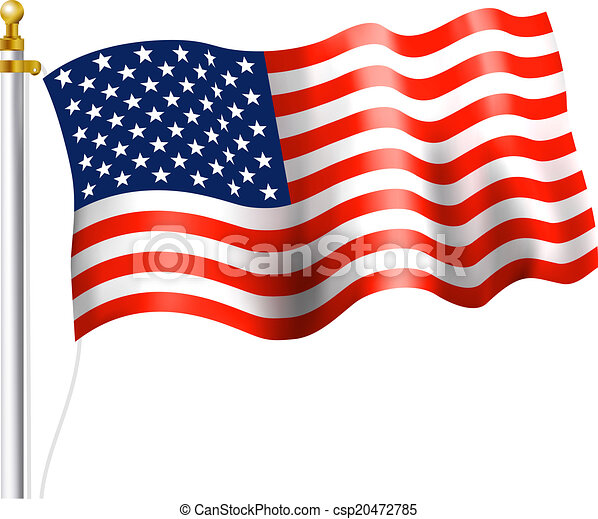 American Flag Waving American Flag On Flag Pole Waving