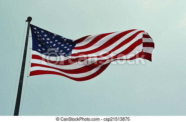 American flag waving in a sky - csp21513875