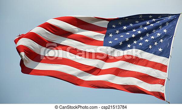 American flag waving in a sky - csp21513784