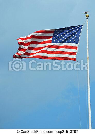 American flag waving in a sky - csp21513787