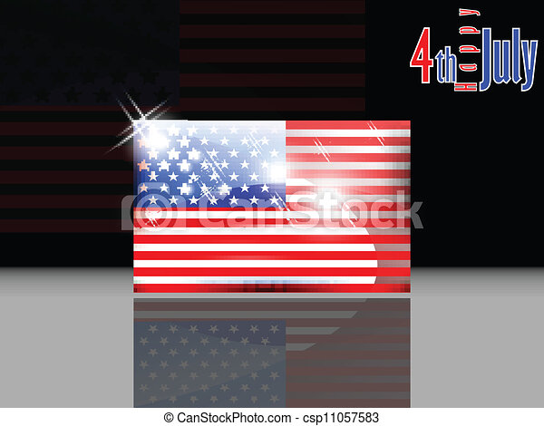 American flag with 4th of July with - csp11057583
