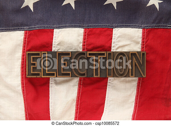 American flag with election word - csp10085572