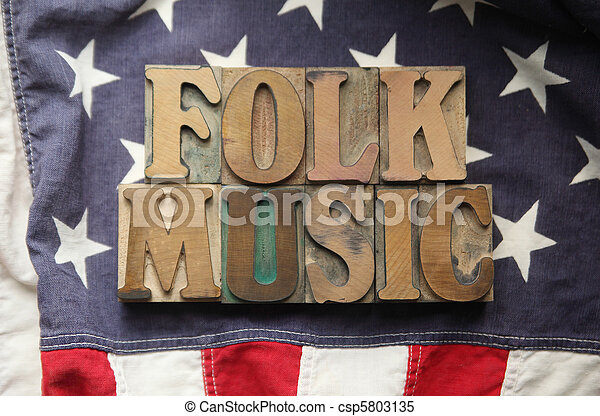 American flag with folk music words - csp5803135