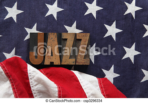 American flag with jazz word - csp3296334