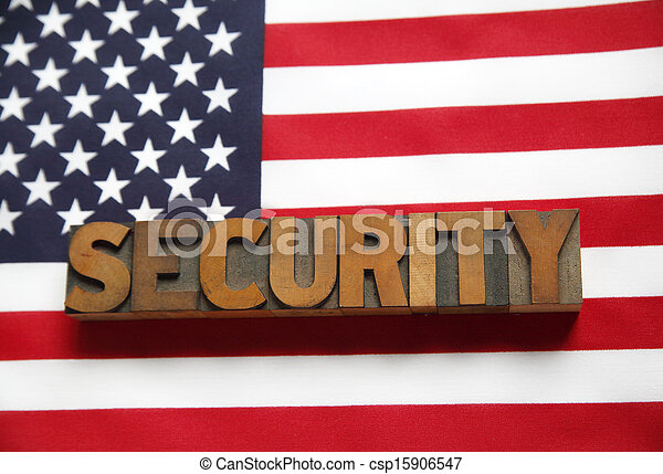 American flag with security word - csp15906547