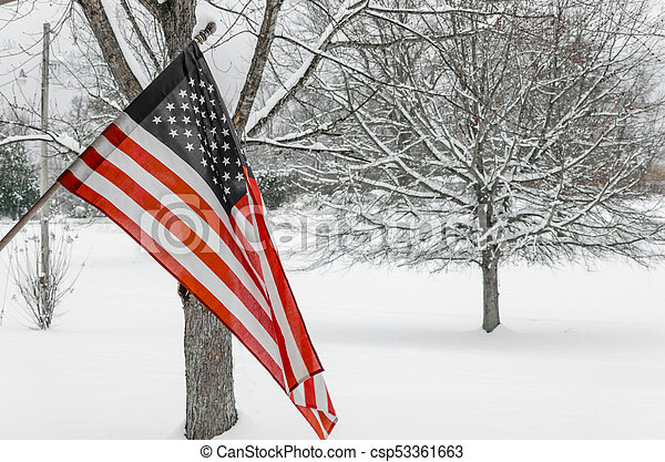 American Flag with snowy background - csp53361663