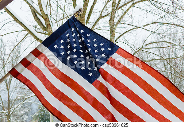 American Flag with snowy background - csp53361625