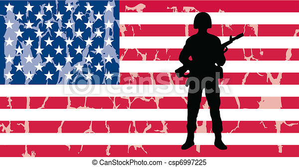 american flag with soldier - csp6997225