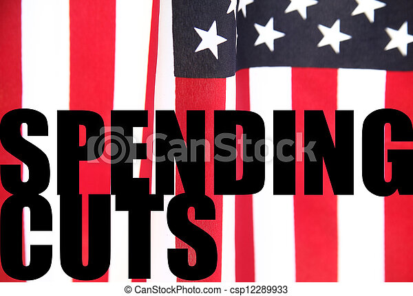 American flag with spending cuts - csp12289933
