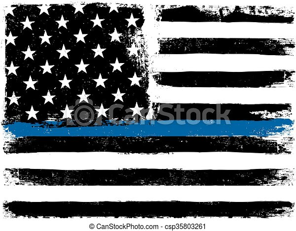 American Flag with Thin Blue Line. Grunge Aged Background. Monochrome gamut. Black and white. - csp35803261