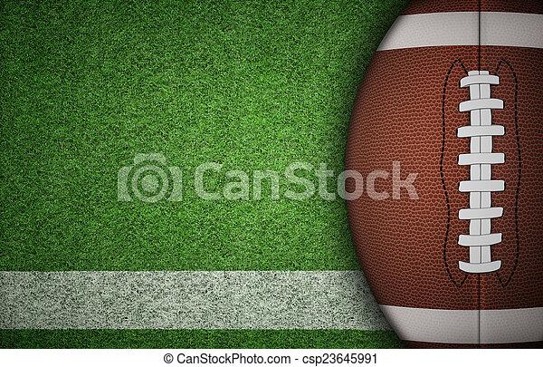 American Football Ball on Grass - csp23645991