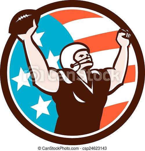 American Football Celebrating Touchdown Retro - csp24623143