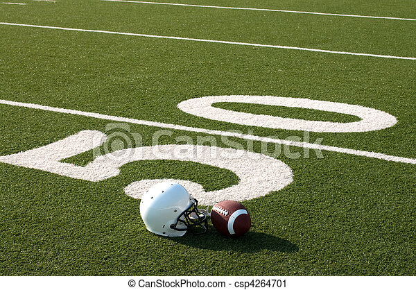 American Football Equipment on Field - csp4264701