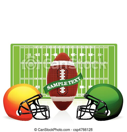 american football field, ball and helmet vector - csp4766128