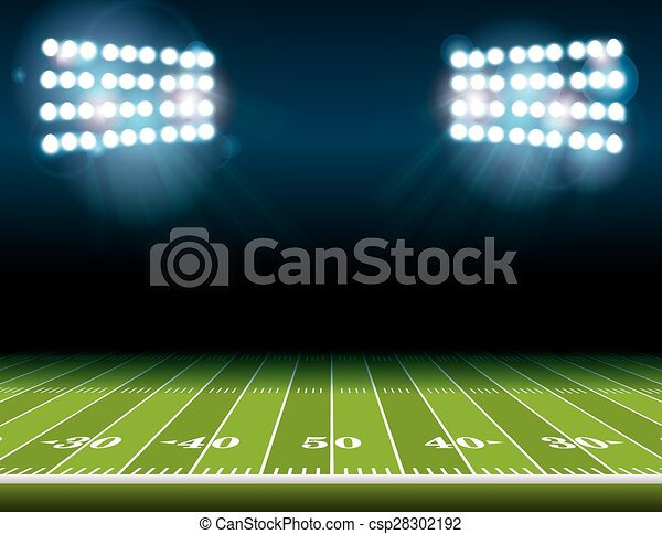 American Football Field with Stadium Lights - csp28302192