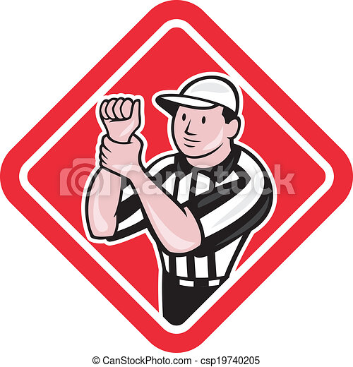 American Football Official Referee Illegal Use Hands - csp19740205