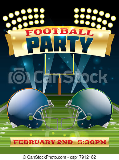 American Football Party Flyer - csp17912182