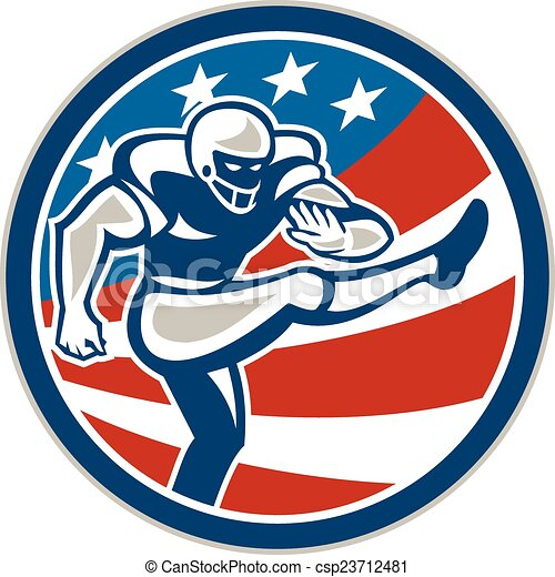 American Football Placekicker Circle Retro - csp23712481