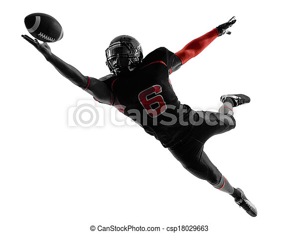 american football player catching ball  silhouette - csp18029663