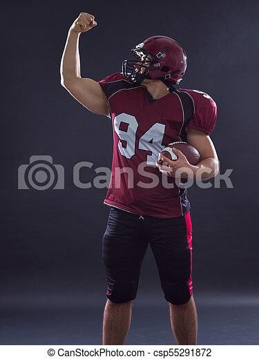 american football player celebrating touchdown - csp55291872