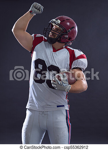 american football player celebrating touchdown - csp55362912
