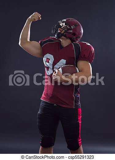 american football player celebrating touchdown - csp55291323