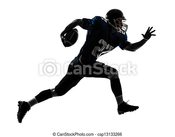 american football player man running  silhouette - csp13133266