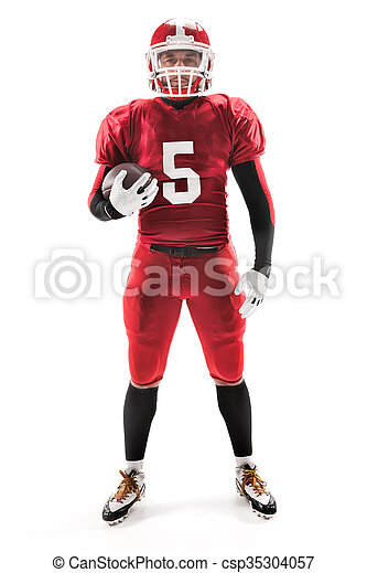 American football player posing with ball on white background - csp35304057