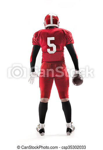 American football player posing with ball on white background - csp35302033