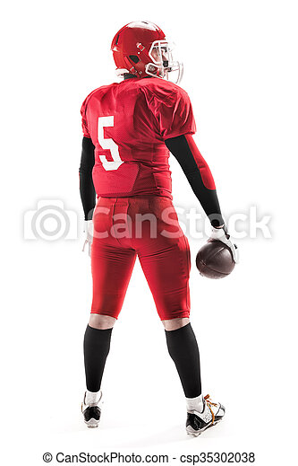 American football player posing with ball on white background - csp35302038