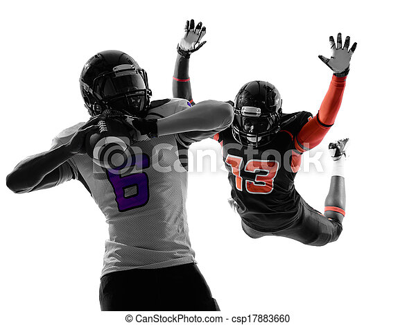 american football player quarterback sacked silhouette - csp17883660
