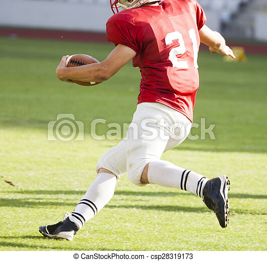 American football player running with the ball - csp28319173