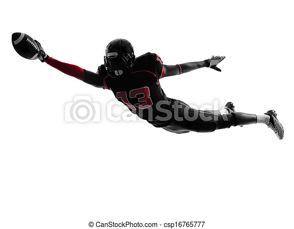 american football player scoring touchdown  silhouette - csp16765777